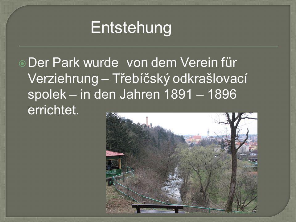 Der Park wurde von dem Verein für Verziehrung – Třebíčský odkrašlovací spolek – in den Jahren 1891 – 1896 errichtet. Entstehung