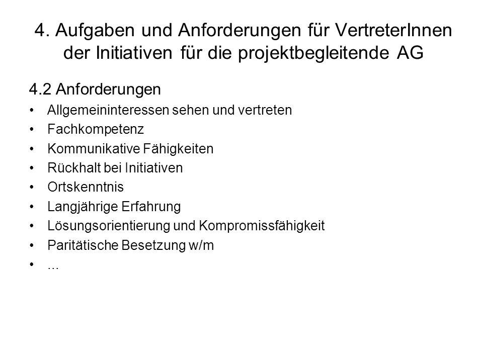 4. Aufgaben und Anforderungen für VertreterInnen der Initiativen für die projektbegleitende AG 4.2 Anforderungen Allgemeininteressen sehen und vertret