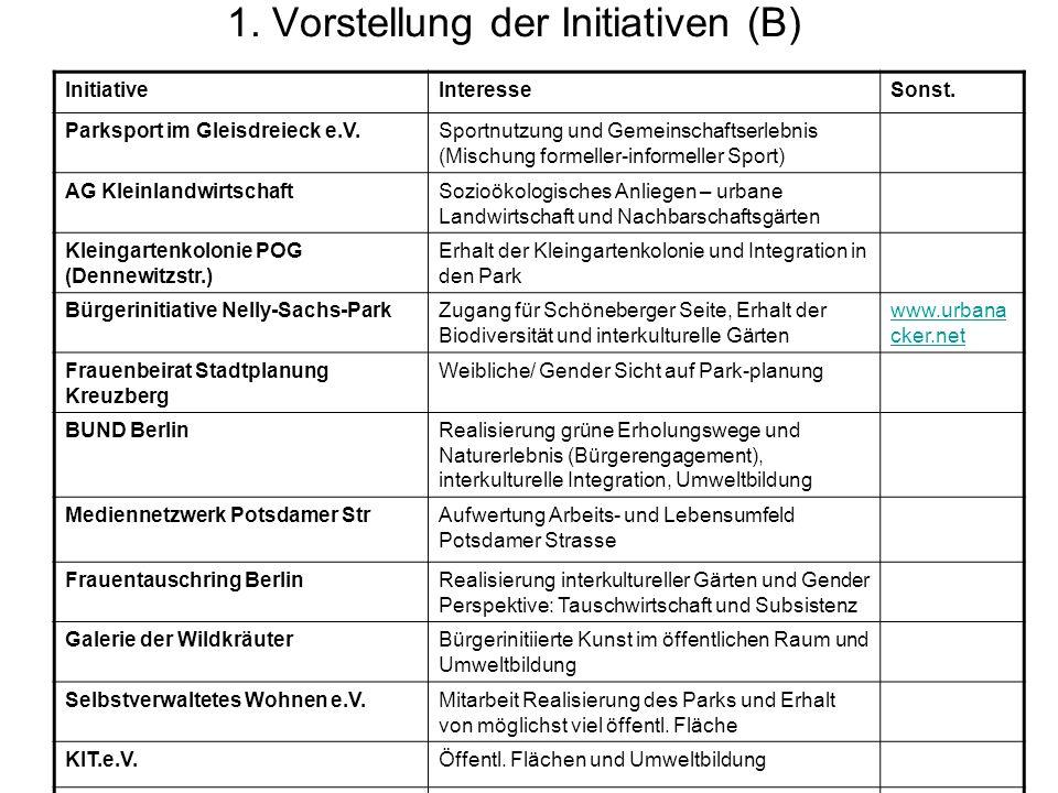 1. Vorstellung der Initiativen (B) InitiativeInteresseSonst.