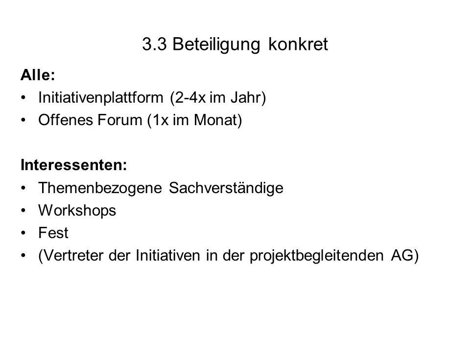 3.3 Beteiligung konkret Alle: Initiativenplattform (2-4x im Jahr) Offenes Forum (1x im Monat) Interessenten: Themenbezogene Sachverständige Workshops Fest (Vertreter der Initiativen in der projektbegleitenden AG)