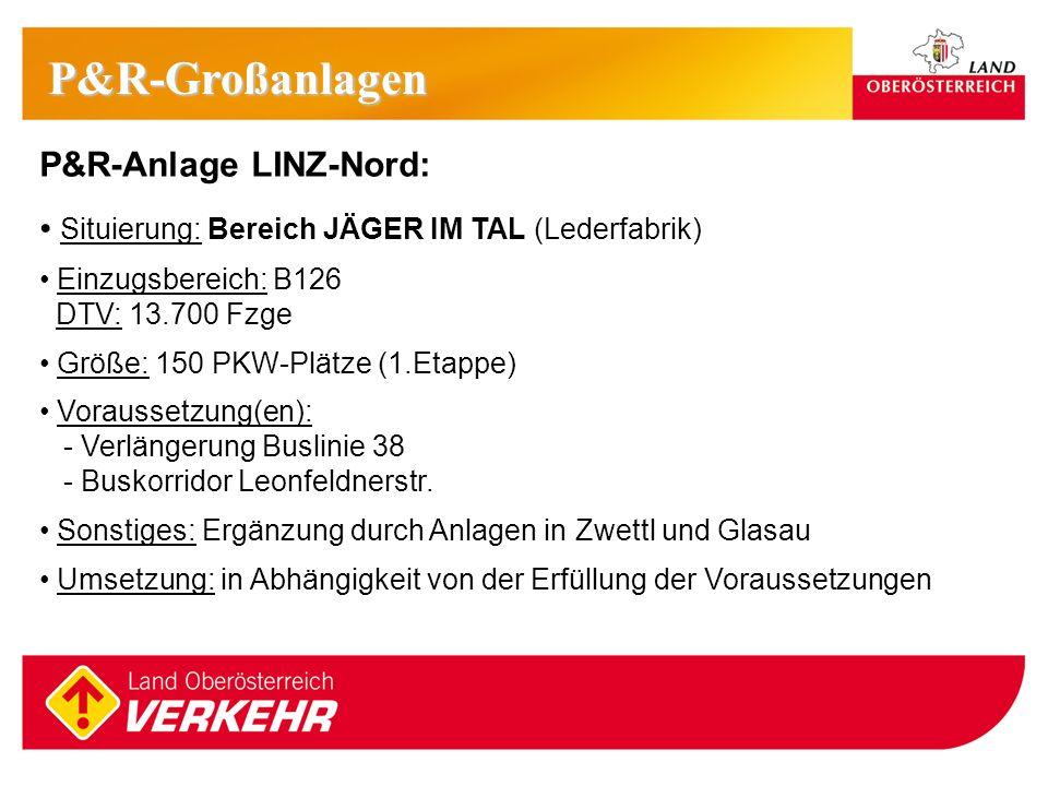 10 P&R-Anlage LINZ-Nord: Situierung: Bereich JÄGER IM TAL (Lederfabrik) Einzugsbereich: B126 DTV: 13.700 Fzge Größe: 150 PKW-Plätze (1.Etappe) Vorauss