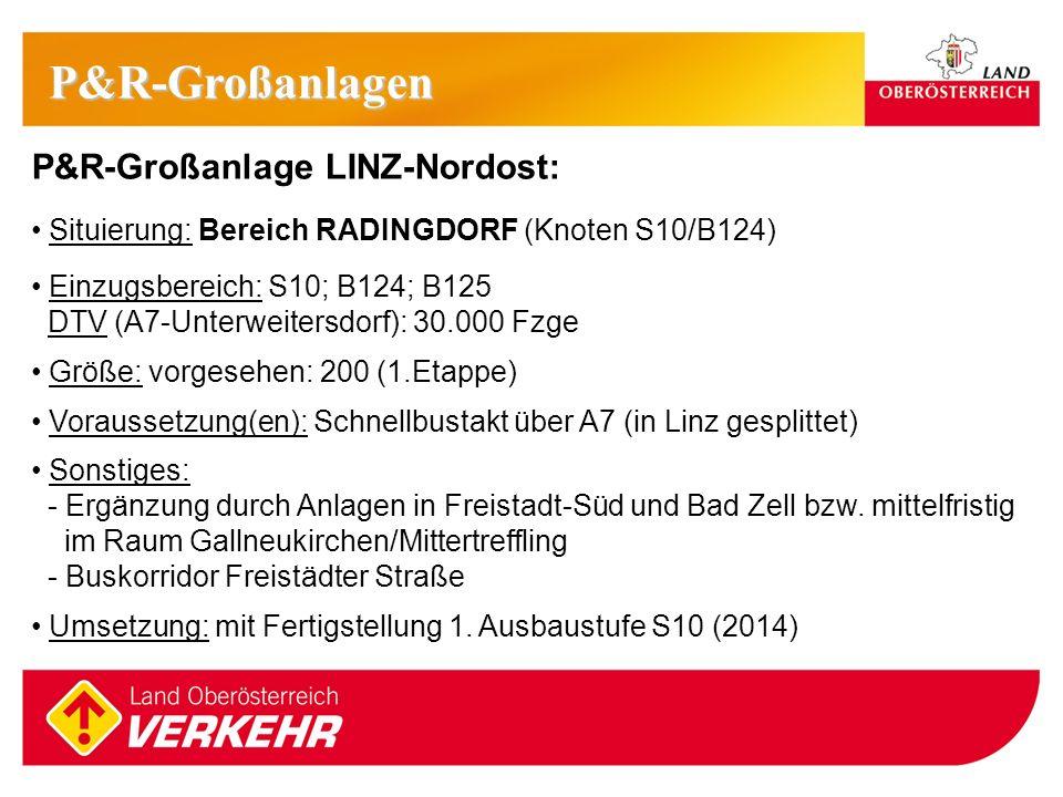 11 P&R-Großanlage LINZ-Nordost: Situierung: Bereich RADINGDORF (Knoten S10/B124) Einzugsbereich: S10; B124; B125 DTV (A7-Unterweitersdorf): 30.000 Fzg