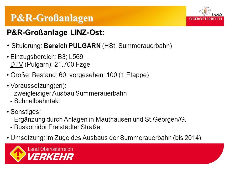 12 P&R-Großanlage LINZ-Ost: Situierung: Bereich PULGARN (HSt. Summerauerbahn) Einzugsbereich: B3; L569 DTV (Pulgarn): 21.700 Fzge Größe: Bestand: 60;