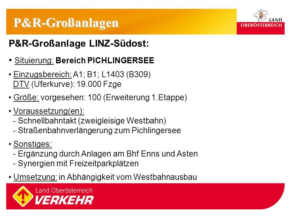 13 P&R-Großanlage LINZ-Südost: Situierung: Bereich PICHLINGERSEE Einzugsbereich: A1; B1; L1403 (B309) DTV (Uferkurve): 19.000 Fzge Größe: vorgesehen: