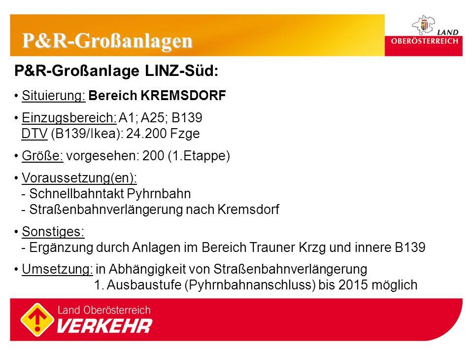 14 P&R-Großanlage LINZ-Süd: Situierung: Bereich KREMSDORF Einzugsbereich: A1; A25; B139 DTV (B139/Ikea): 24.200 Fzge Größe: vorgesehen: 200 (1.Etappe)