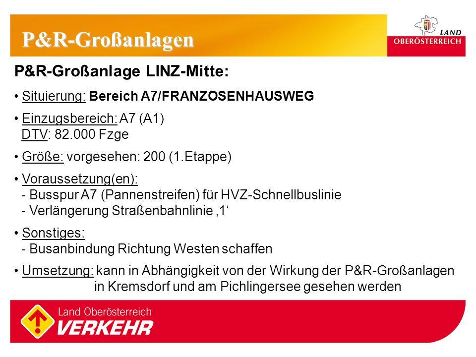 15 P&R-Großanlage LINZ-Mitte: Situierung: Bereich A7/FRANZOSENHAUSWEG Einzugsbereich: A7 (A1) DTV: 82.000 Fzge Größe: vorgesehen: 200 (1.Etappe) Vorau
