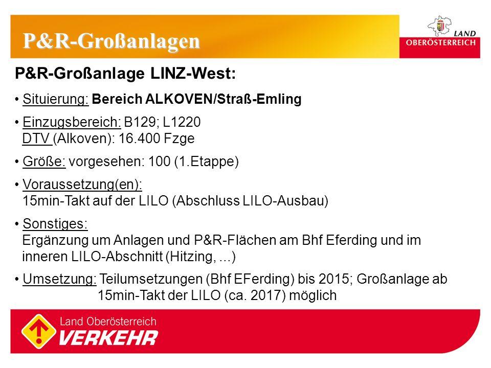 16 P&R-Großanlage LINZ-West: Situierung: Bereich ALKOVEN/Straß-Emling Einzugsbereich: B129; L1220 DTV (Alkoven): 16.400 Fzge Größe: vorgesehen: 100 (1