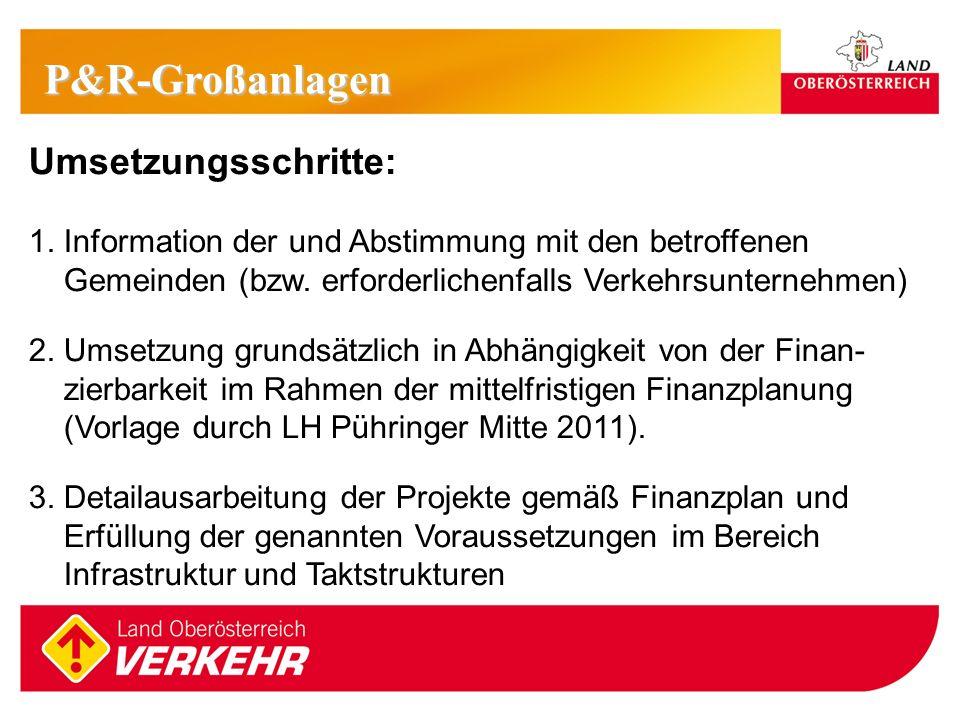 17 Umsetzungsschritte: 1. Information der und Abstimmung mit den betroffenen Gemeinden (bzw. erforderlichenfalls Verkehrsunternehmen) 2. Umsetzung gru