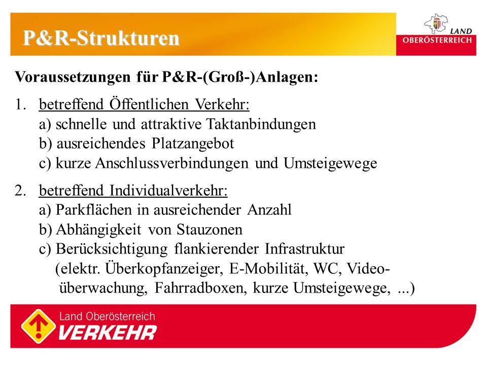6 P&R-Strukturen Voraussetzungen für P&R-(Groß-)Anlagen: 1.betreffend Öffentlichen Verkehr: a) schnelle und attraktive Taktanbindungen b) ausreichende