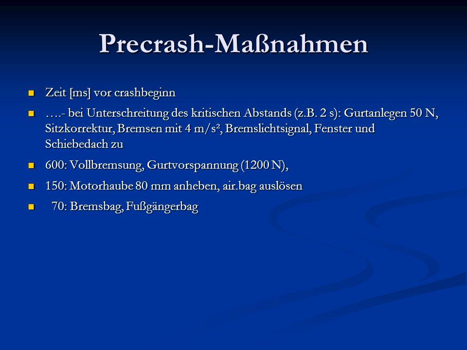 Precrash-Maßnahmen Zeit [ms] vor crashbeginn Zeit [ms] vor crashbeginn ….- bei Unterschreitung des kritischen Abstands (z.B.