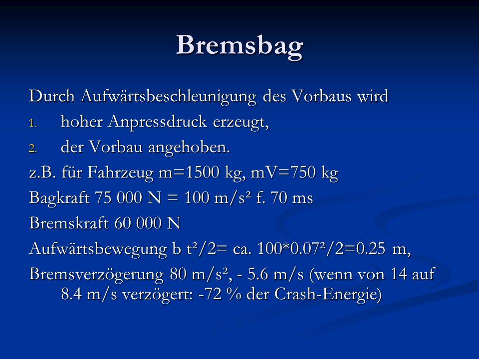 Bremsbag Durch Aufwärtsbeschleunigung des Vorbaus wird 1.