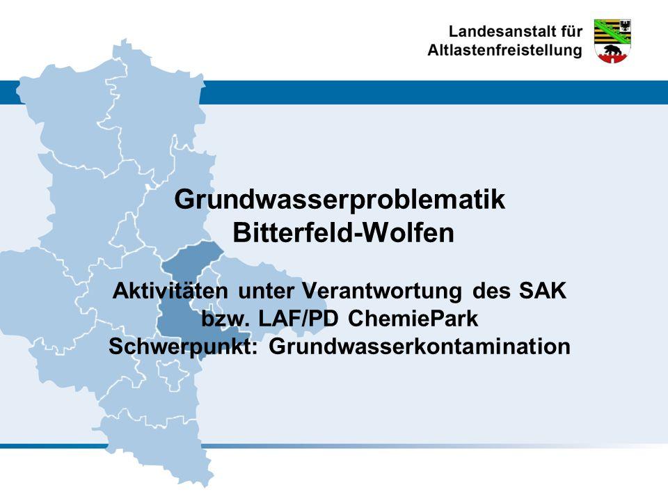 Grundwasserproblematik Bitterfeld-Wolfen Aktivitäten unter Verantwortung des SAK bzw. LAF/PD ChemiePark Schwerpunkt: Grundwasserkontamination