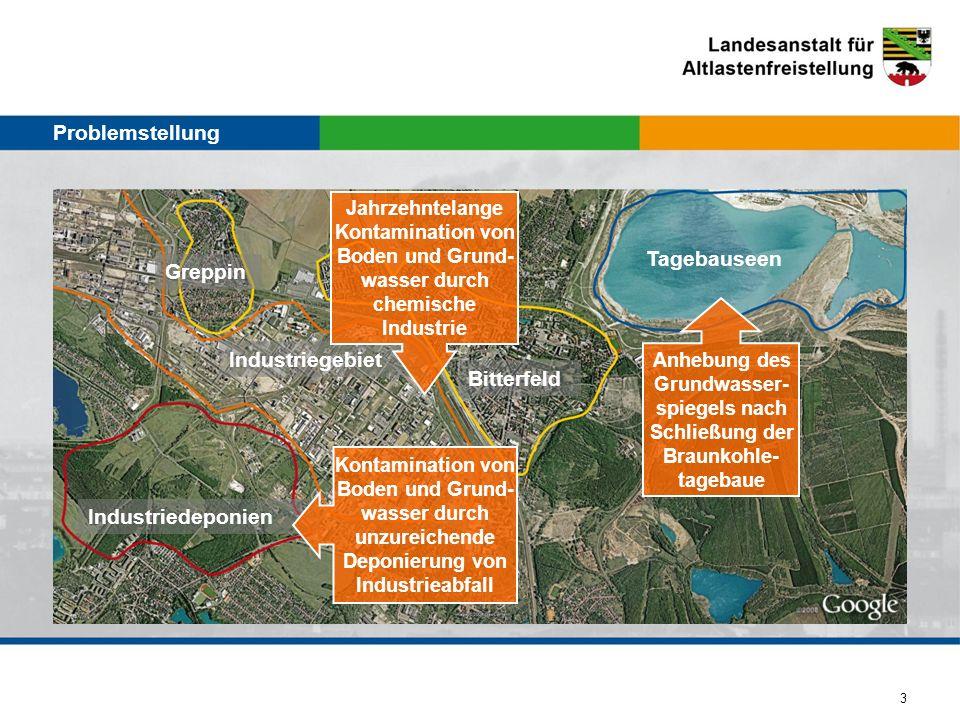 3 Industriegebiet Greppin Bitterfeld Industriedeponien Tagebauseen Jahrzehntelange Kontamination von Boden und Grund- wasser durch chemische Industrie