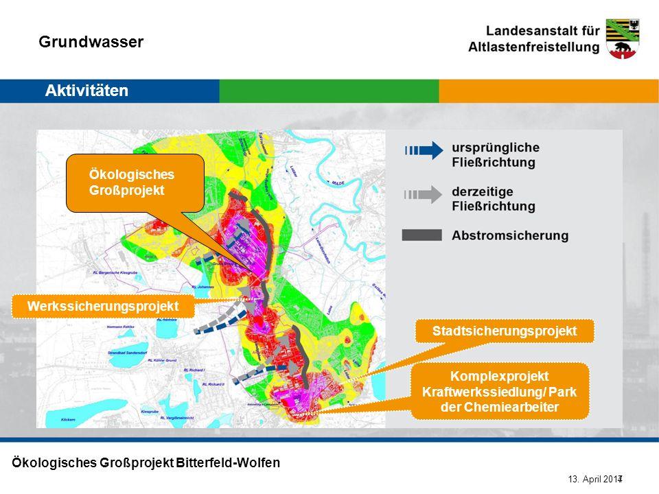 13. April 2014 Ökologisches Großprojekt Bitterfeld-Wolfen 7 Werkssicherungsprojekt Stadtsicherungsprojekt Aktivitäten Grundwasser Ökologisches Großpro