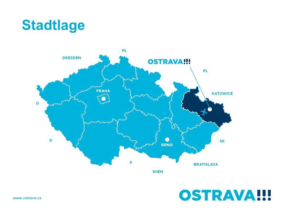 Stadtplan Prag 380km Slovakei 50km 15km Polen D1 www.ostrava.cz