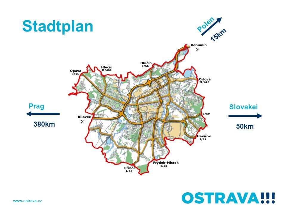 Ostrava drittgrößte Stadt der Tschechischen Republik Metropole der Mährisch-Schlesischen Region Fläche: 214 km² Ca.