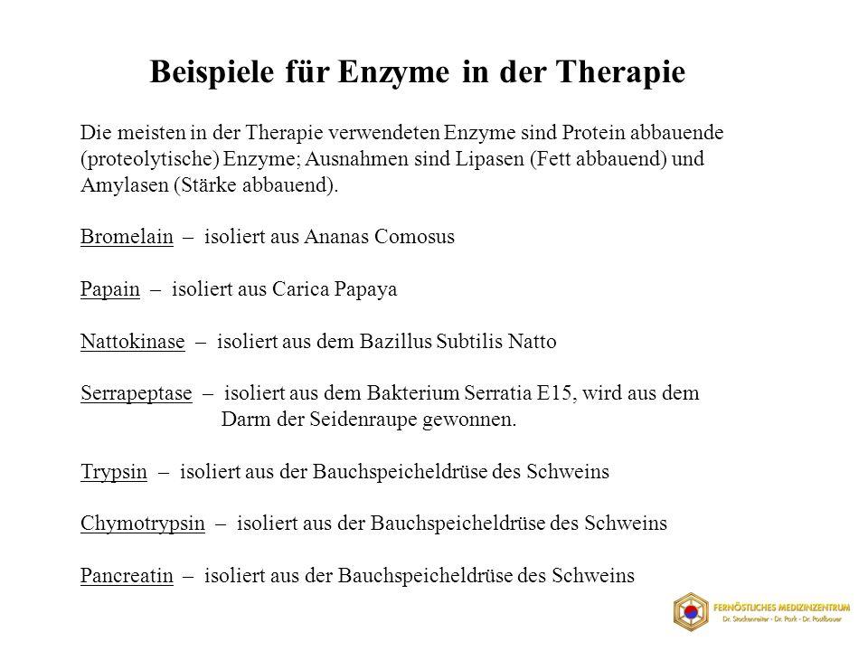 Die meisten in der Therapie verwendeten Enzyme sind Protein abbauende (proteolytische) Enzyme; Ausnahmen sind Lipasen (Fett abbauend) und Amylasen (Stärke abbauend).