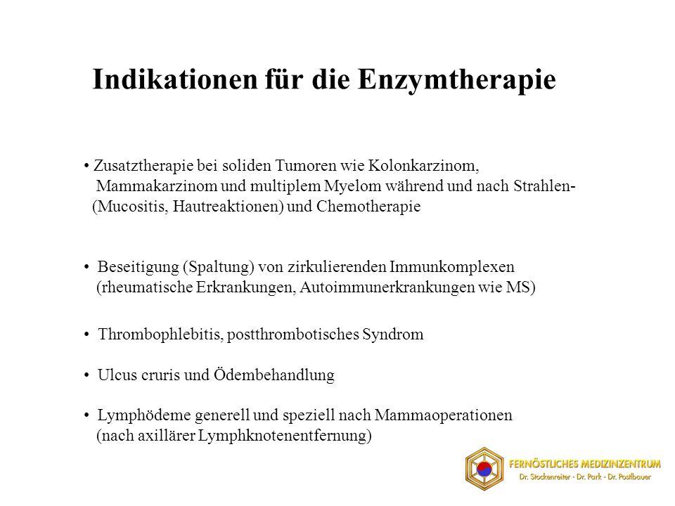 Indikationen für die Enzymtherapie Zusatztherapie bei soliden Tumoren wie Kolonkarzinom, Mammakarzinom und multiplem Myelom während und nach Strahlen- (Mucositis, Hautreaktionen) und Chemotherapie Beseitigung (Spaltung) von zirkulierenden Immunkomplexen (rheumatische Erkrankungen, Autoimmunerkrankungen wie MS) Thrombophlebitis, postthrombotisches Syndrom Ulcus cruris und Ödembehandlung Lymphödeme generell und speziell nach Mammaoperationen (nach axillärer Lymphknotenentfernung)
