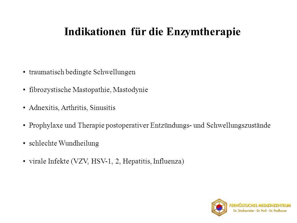 traumatisch bedingte Schwellungen fibrozystische Mastopathie, Mastodynie Adnexitis, Arthritis, Sinusitis Prophylaxe und Therapie postoperativer Entzündungs- und Schwellungszustände schlechte Wundheilung virale Infekte (VZV, HSV-1, 2, Hepatitis, Influenza) Indikationen für die Enzymtherapie