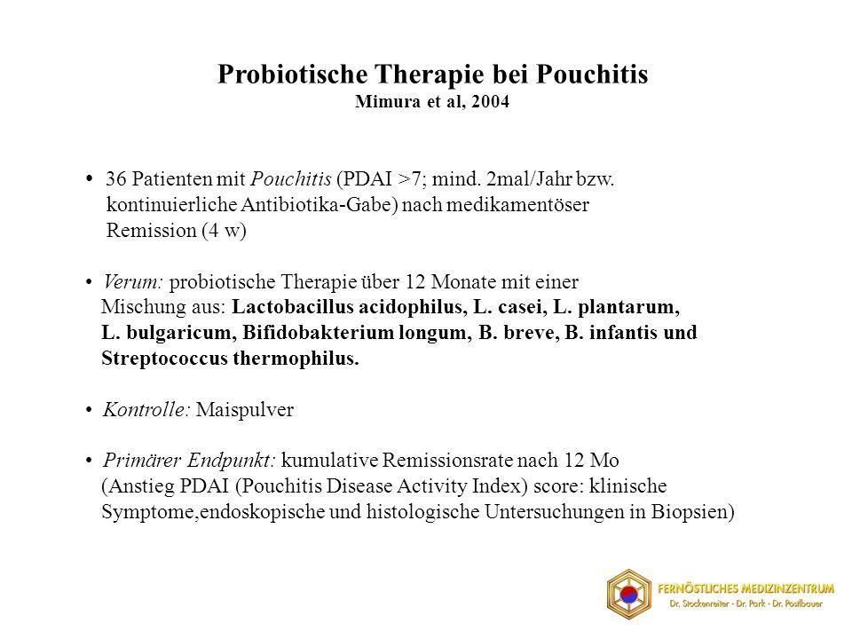36 Patienten mit Pouchitis (PDAI >7; mind.2mal/Jahr bzw.