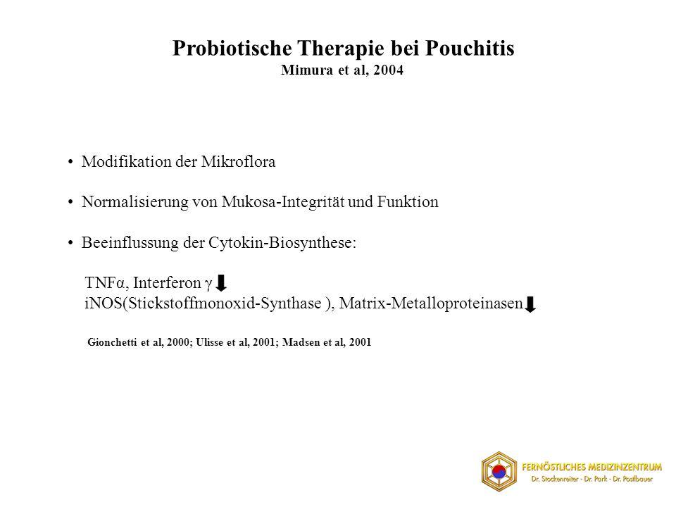 Probiotische Therapie bei Pouchitis Mimura et al, 2004 Modifikation der Mikroflora Normalisierung von Mukosa-Integrität und Funktion Beeinflussung der Cytokin-Biosynthese: TNFα, Interferon γ iNOS(Stickstoffmonoxid-Synthase ), Matrix-Metalloproteinasen Gionchetti et al, 2000; Ulisse et al, 2001; Madsen et al, 2001