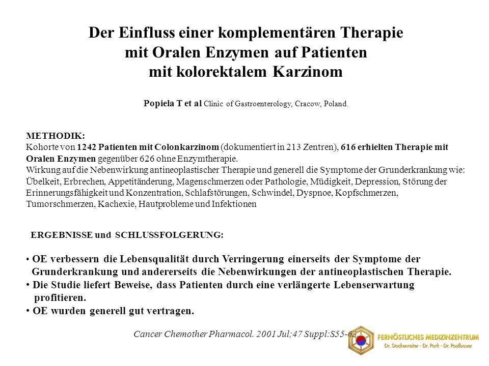 METHODIK: Kohorte von 1242 Patienten mit Colonkarzinom (dokumentiert in 213 Zentren), 616 erhielten Therapie mit Oralen Enzymen gegenüber 626 ohne Enzymtherapie.