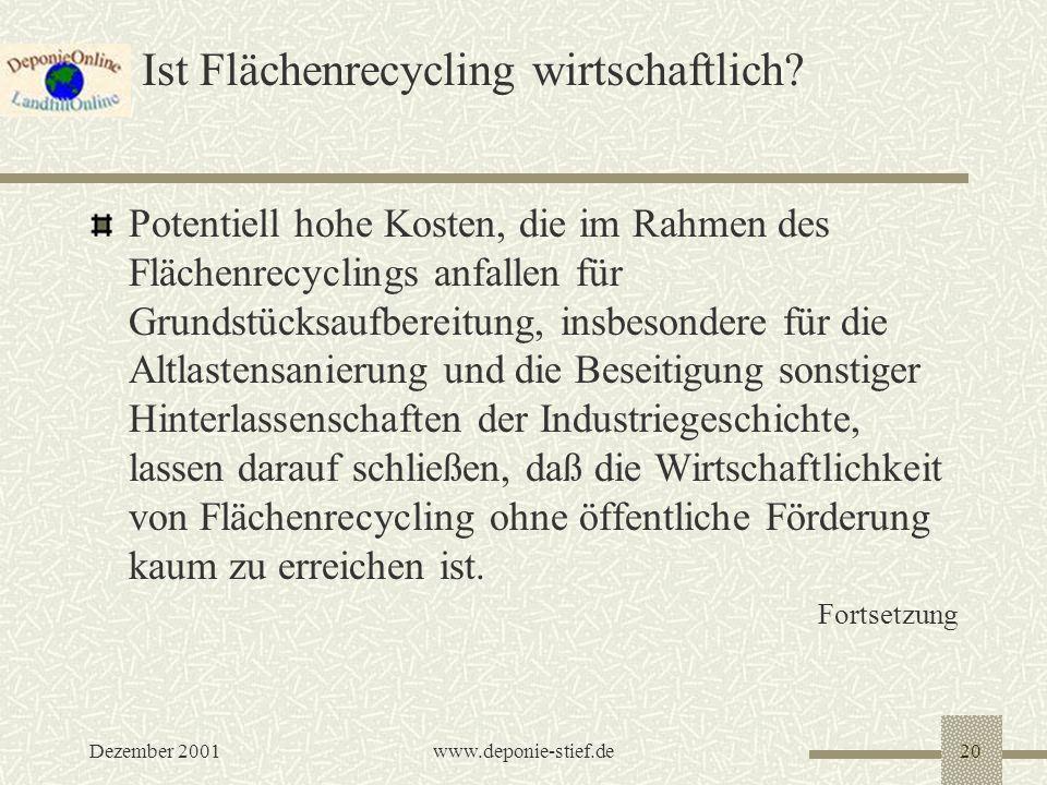Dezember 2001www.deponie-stief.de20 Ist Flächenrecycling wirtschaftlich? Potentiell hohe Kosten, die im Rahmen des Flächenrecyclings anfallen für Grun