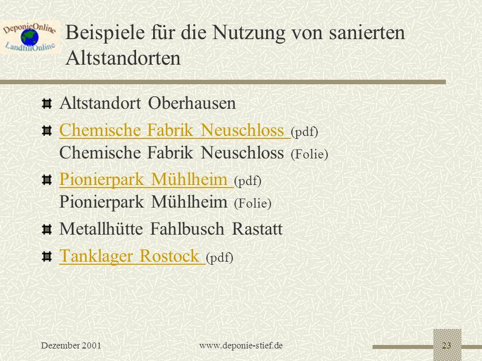 Dezember 2001www.deponie-stief.de23 Beispiele für die Nutzung von sanierten Altstandorten Altstandort Oberhausen Chemische Fabrik Neuschloss Chemische