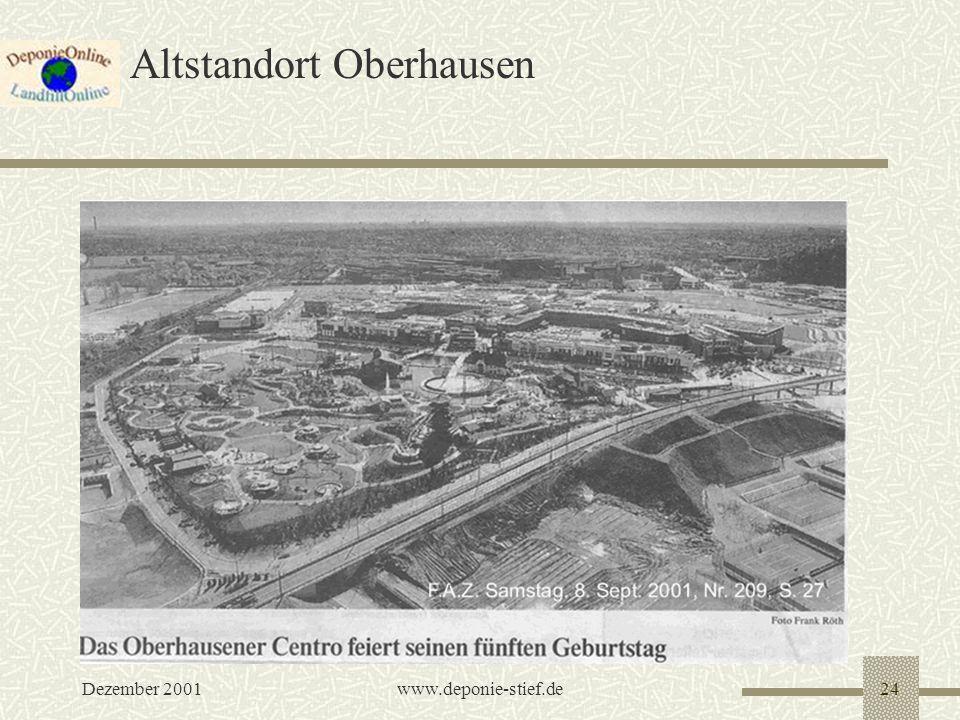 Dezember 2001www.deponie-stief.de24 Altstandort Oberhausen