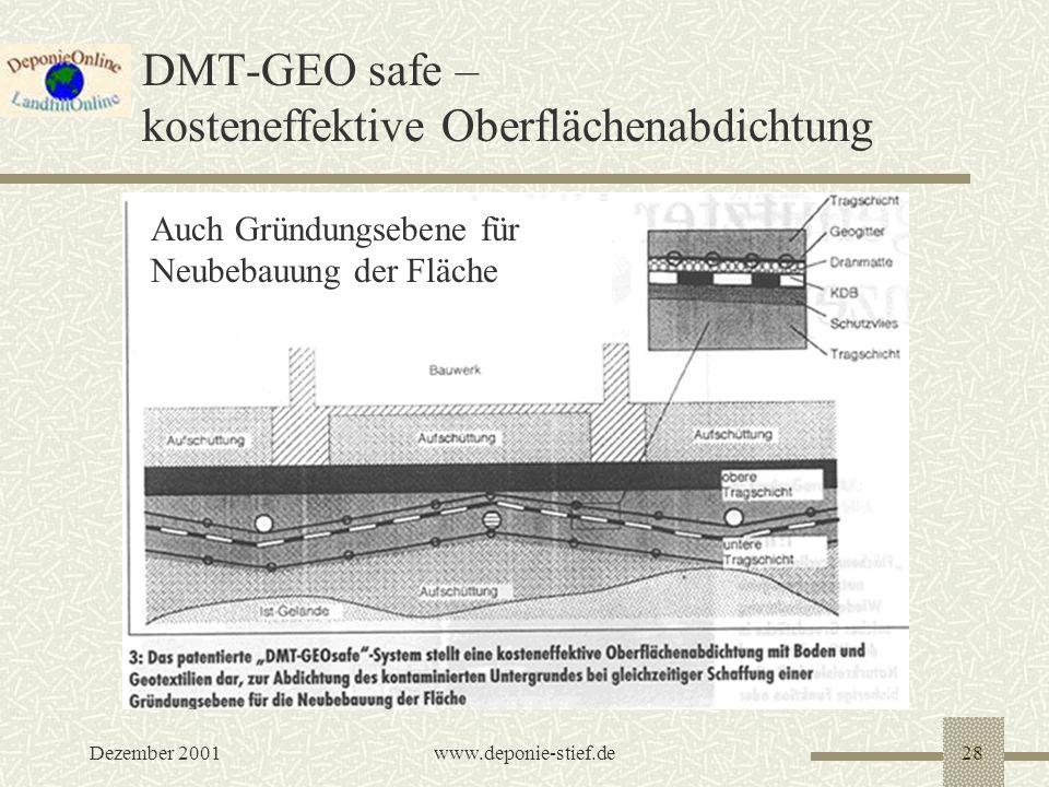 Dezember 2001www.deponie-stief.de28 DMT-GEO safe – kosteneffektive Oberflächenabdichtung Auch Gründungsebene für Neubebauung der Fläche
