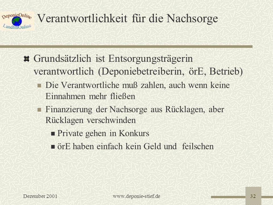 Dezember 2001www.deponie-stief.de32 Verantwortlichkeit für die Nachsorge Grundsätzlich ist Entsorgungsträgerin verantwortlich (Deponiebetreiberin, örE