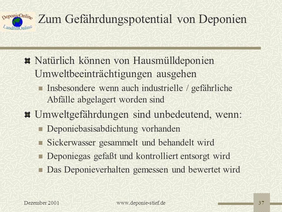 Dezember 2001www.deponie-stief.de37 Zum Gefährdungspotential von Deponien Natürlich können von Hausmülldeponien Umweltbeeinträchtigungen ausgehen Insb