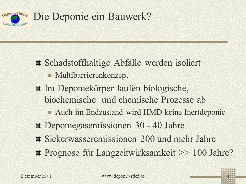 Dezember 2001www.deponie-stief.de5 Was macht man mit verfüllten Deponien.