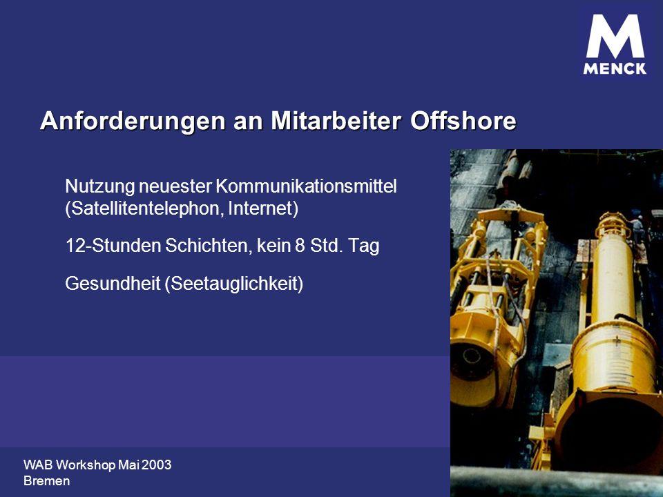 WAB Workshop Mai 2003 Bremen Anforderungen an Mitarbeiter Offshore Nutzung neuester Kommunikationsmittel (Satellitentelephon, Internet) 12-Stunden Sch