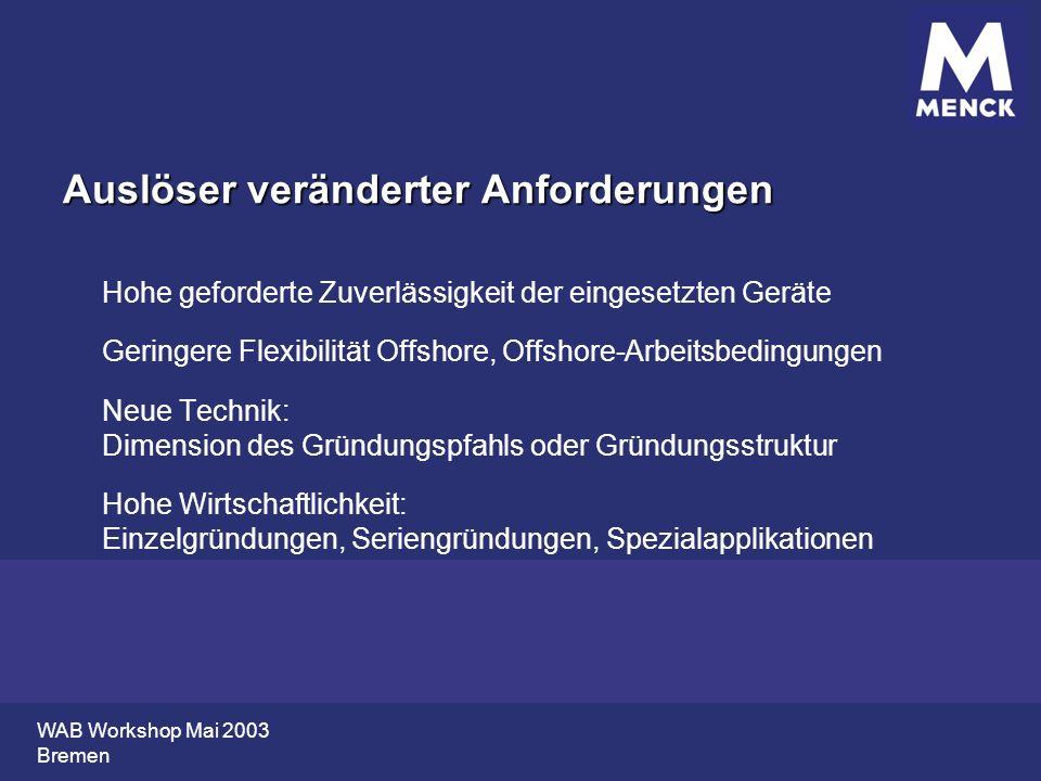 WAB Workshop Mai 2003 Bremen Auslöser veränderter Anforderungen Hohe geforderte Zuverlässigkeit der eingesetzten Geräte Geringere Flexibilität Offshor