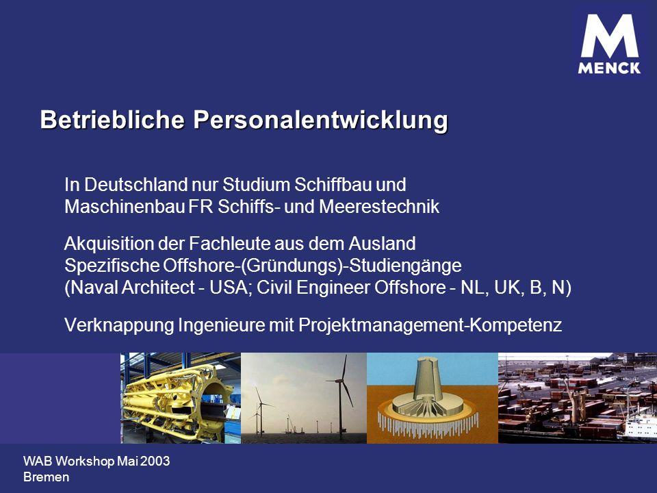 WAB Workshop Mai 2003 Bremen Betriebliche Personalentwicklung In Deutschland nur Studium Schiffbau und Maschinenbau FR Schiffs- und Meerestechnik Akqu