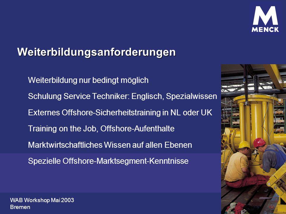 WAB Workshop Mai 2003 Bremen Weiterbildungsanforderungen Weiterbildung nur bedingt möglich Schulung Service Techniker: Englisch, Spezialwissen Externe