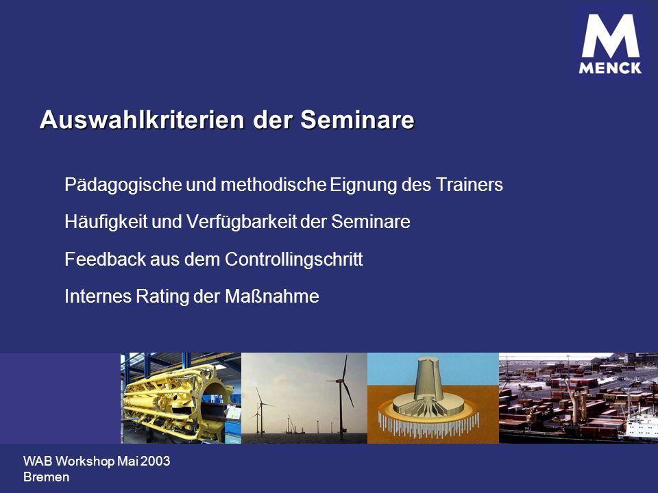 WAB Workshop Mai 2003 Bremen Auswahlkriterien der Seminare Pädagogische und methodische Eignung des Trainers Häufigkeit und Verfügbarkeit der Seminare