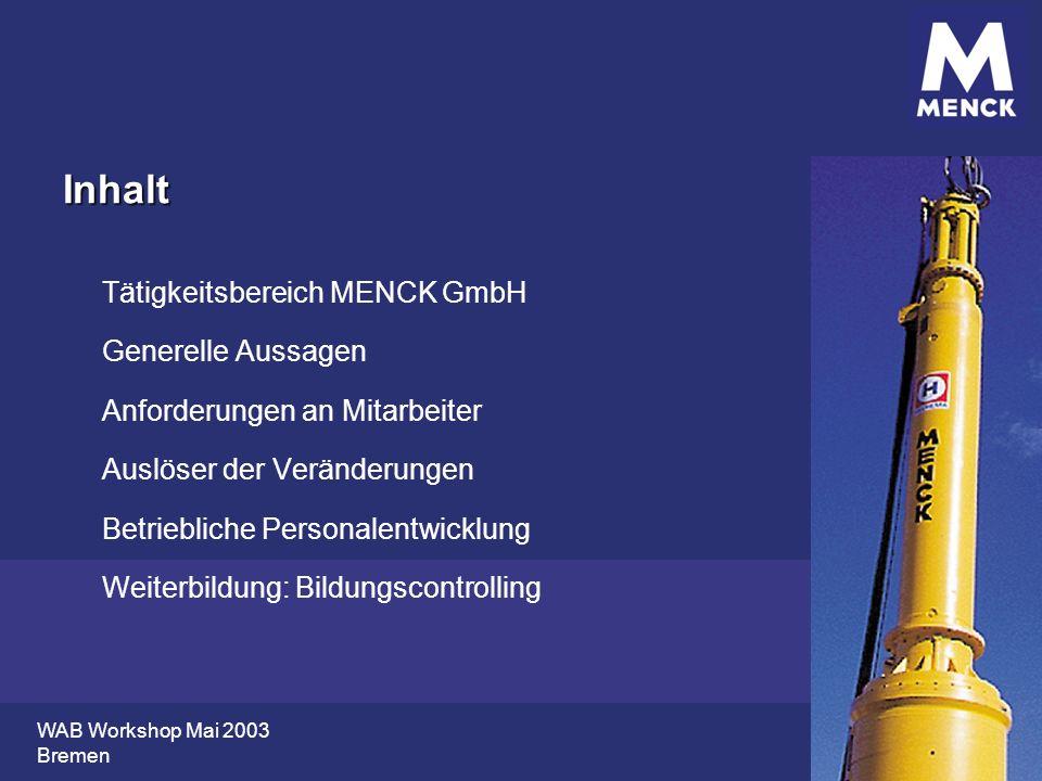WAB Workshop Mai 2003 Bremen Inhalt Tätigkeitsbereich MENCK GmbH Generelle Aussagen Anforderungen an Mitarbeiter Auslöser der Veränderungen Betrieblic