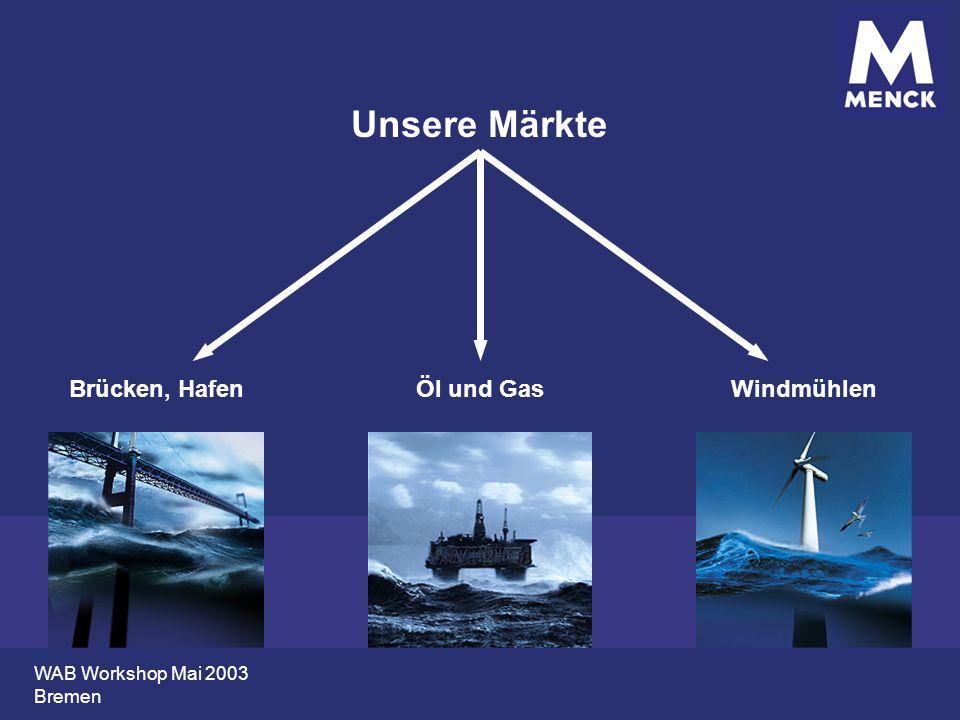 WAB Workshop Mai 2003 Bremen Unsere Märkte Brücken, HafenÖl und GasWindmühlen
