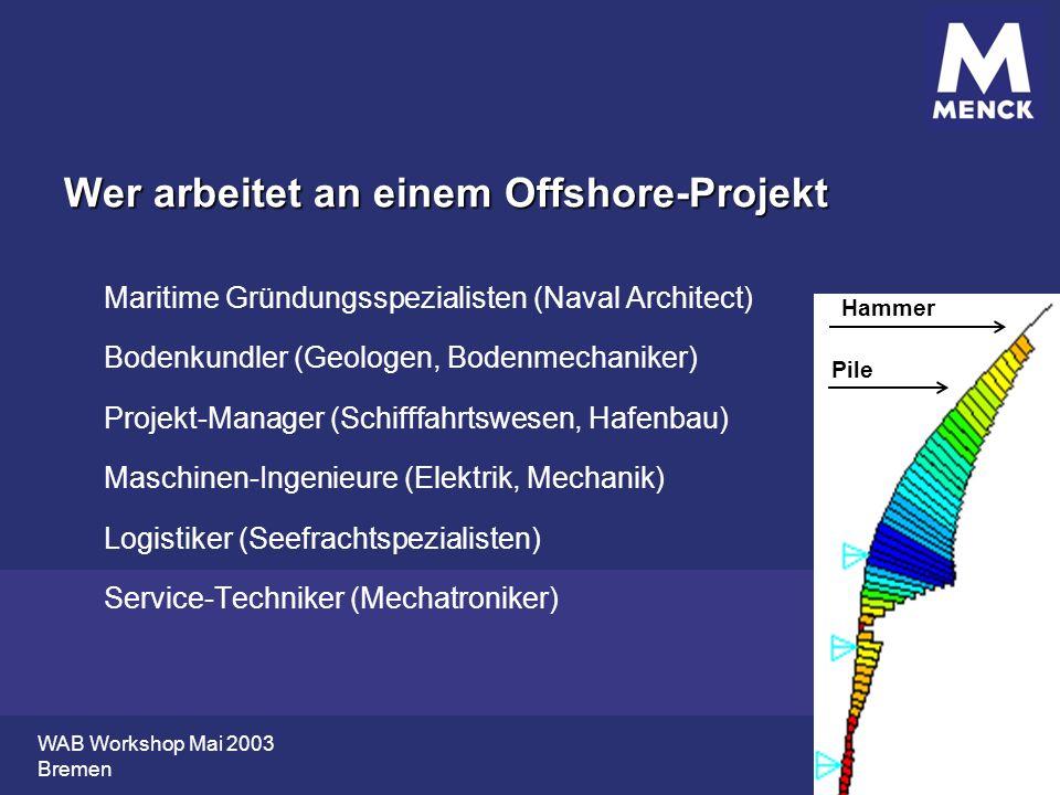 WAB Workshop Mai 2003 Bremen Wer arbeitet an einem Offshore-Projekt Maritime Gründungsspezialisten (Naval Architect) Bodenkundler (Geologen, Bodenmech
