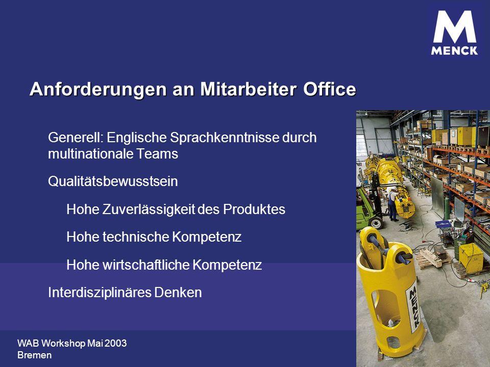 WAB Workshop Mai 2003 Bremen Anforderungen an Mitarbeiter Office Generell: Englische Sprachkenntnisse durch multinationale Teams Qualitätsbewusstsein