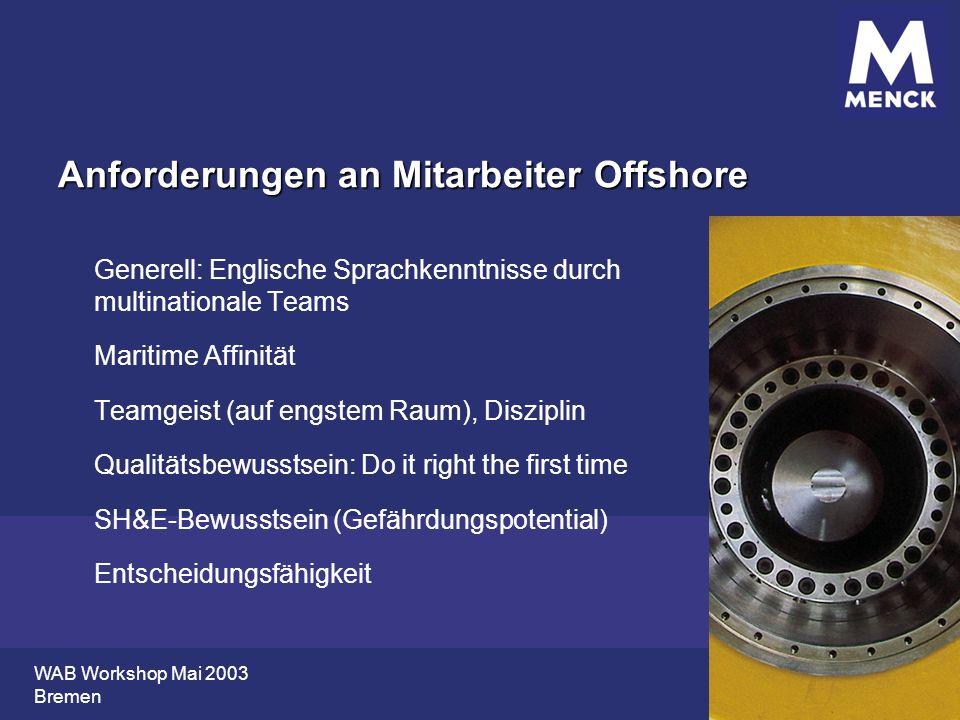 WAB Workshop Mai 2003 Bremen Anforderungen an Mitarbeiter Offshore Generell: Englische Sprachkenntnisse durch multinationale Teams Maritime Affinität