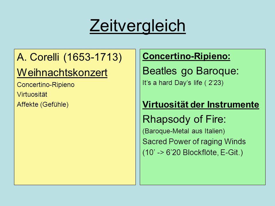 Zeitvergleich A. Corelli (1653-1713) Weihnachtskonzert Concertino-Ripieno Virtuosität Affekte (Gefühle) Concertino-Ripieno: Beatles go Baroque: Its a