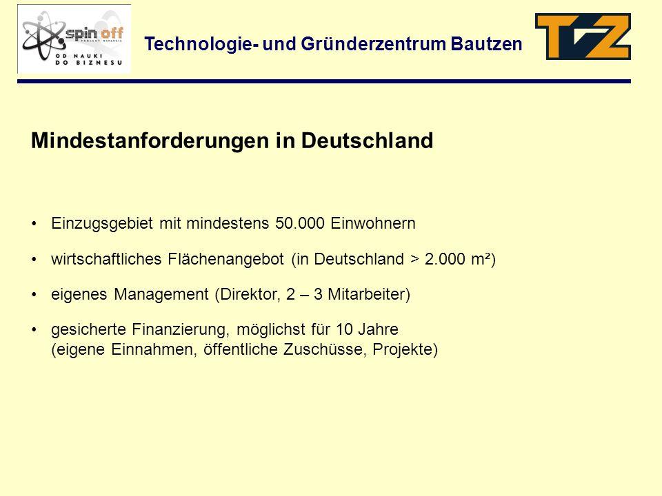 Technologie- und Gründerzentrum Bautzen Einzugsgebiet mit mindestens 50.000 Einwohnern wirtschaftliches Flächenangebot (in Deutschland > 2.000 m²) eig