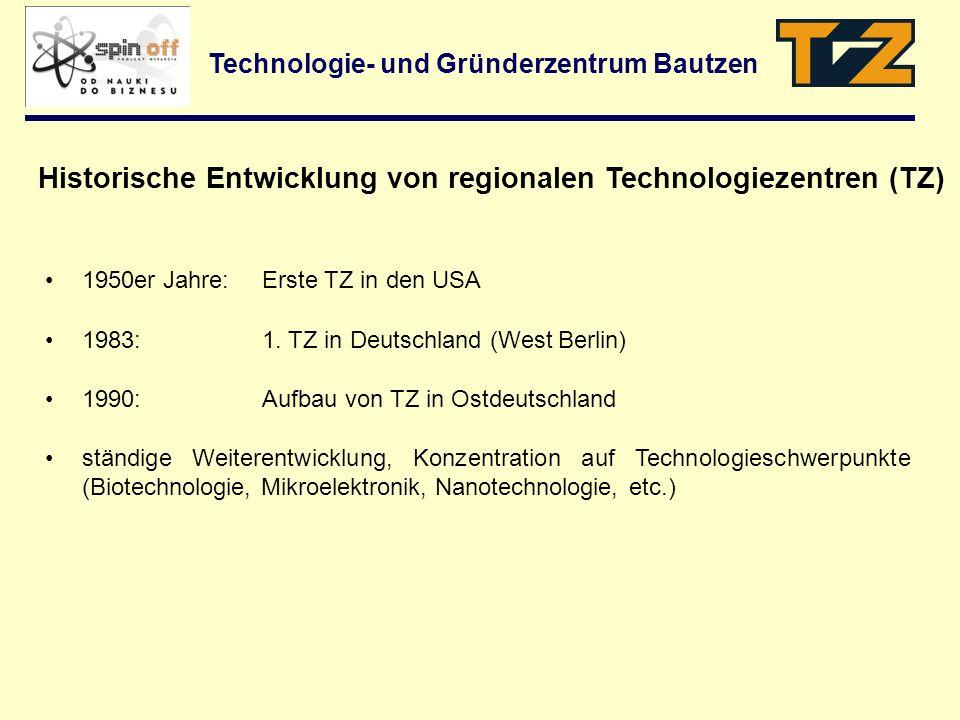 Technologie- und Gründerzentrum Bautzen 1950er Jahre: Erste TZ in den USA 1983:1. TZ in Deutschland (West Berlin) 1990:Aufbau von TZ in Ostdeutschland