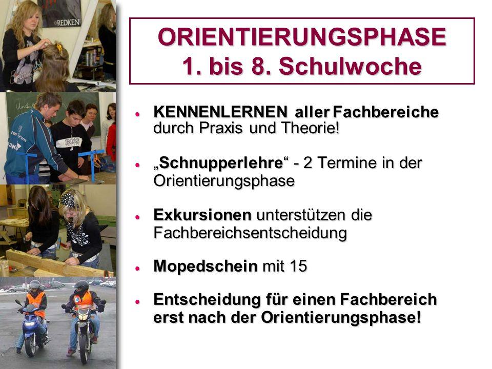 ORIENTIERUNGSPHASE 1. bis 8. Schulwoche KENNENLERNEN aller Fachbereiche durch Praxis und Theorie! KENNENLERNEN aller Fachbereiche durch Praxis und The