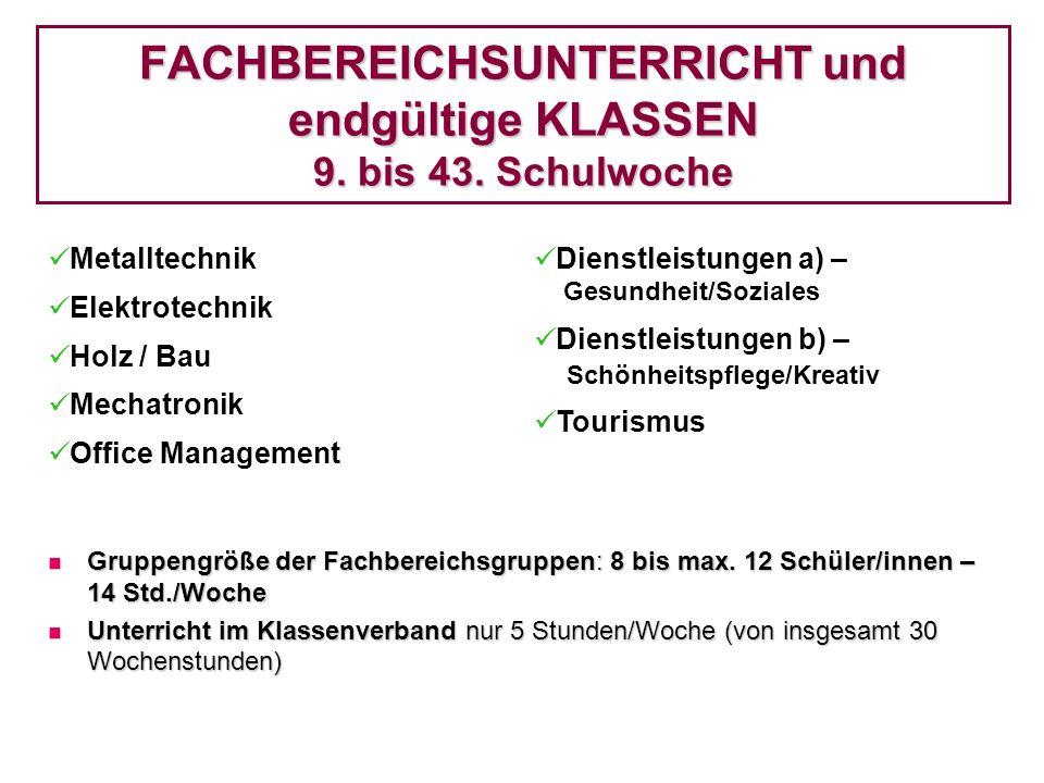 FACHBEREICHSUNTERRICHT und endgültige KLASSEN 9. bis 43. Schulwoche Metalltechnik Elektrotechnik Holz / Bau Mechatronik Office Management Dienstleistu