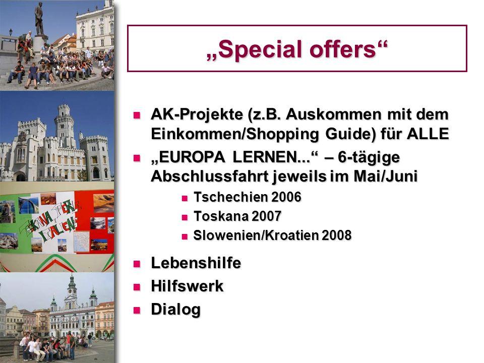 Special offers AK-Projekte (z.B. Auskommen mit dem Einkommen/Shopping Guide) für ALLE AK-Projekte (z.B. Auskommen mit dem Einkommen/Shopping Guide) fü