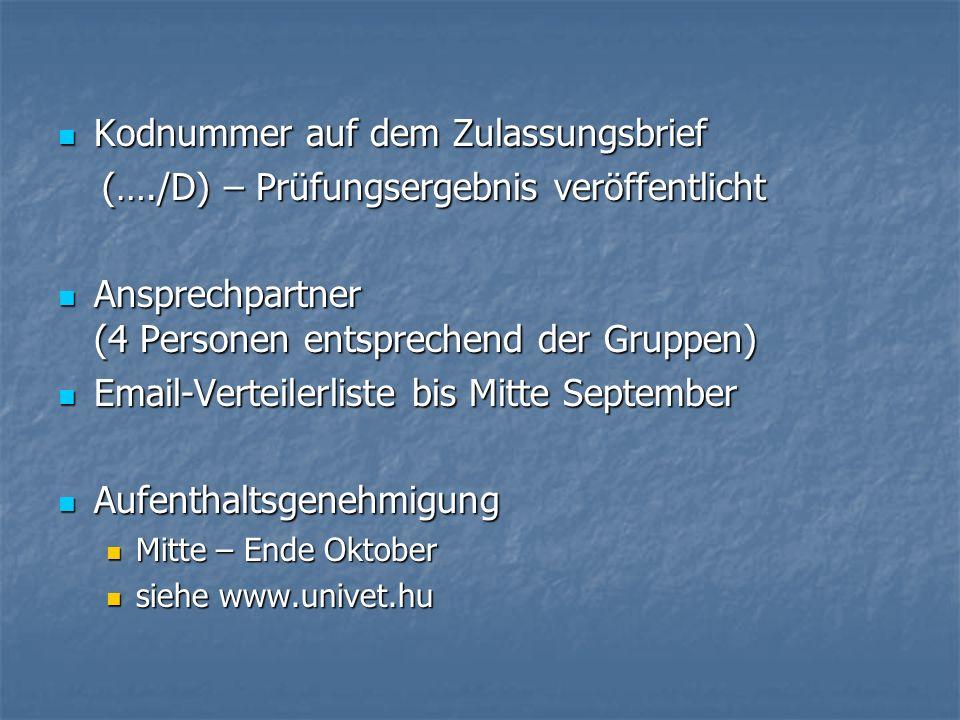 Kodnummer auf dem Zulassungsbrief Kodnummer auf dem Zulassungsbrief (…./D) – Prüfungsergebnis veröffentlicht (…./D) – Prüfungsergebnis veröffentlicht